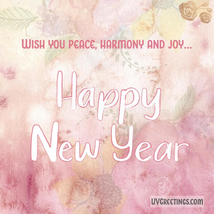 Watercolor pink floral background, Happy New Year eCard