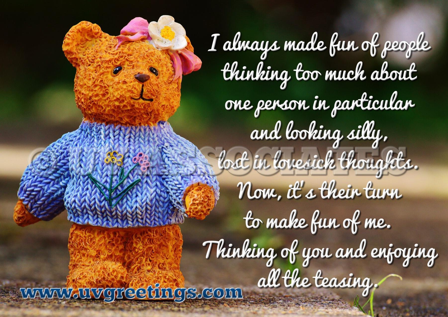 Thinking of you eCard - Cute Teddy - 'Lovesick look' making everyone tease