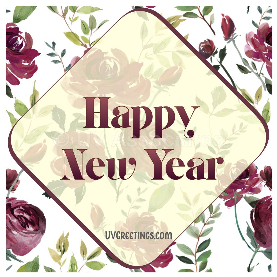 Graceful Wine colored Floral New Year eCard