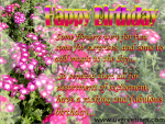 Ecard Multiple Pink Bright Flowers - short poem to wish Happy Birthday