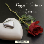Single Red Rose with a Silver love heart - Valentine's Day eCard